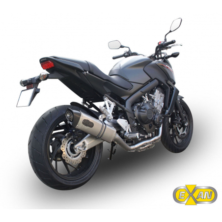Exan Exhaust Line HONDA CB650F X-Black oval stainless steel,black stainless steel,titanium and carbon - 1