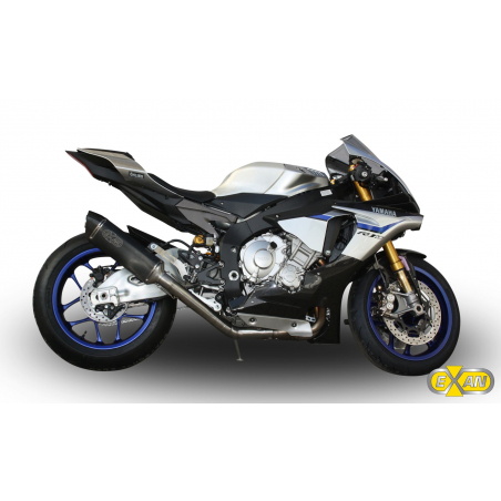 Half exhaust system with decatalyser and  silencer Exan X-Black Oval for Yamaha R1 non homologated - 1