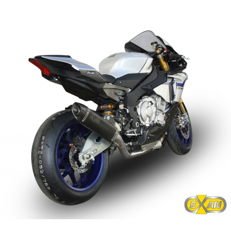 Half exhaust system with decatalyser and  silencer Exan X-Black Oval for Yamaha R1 non homologated - 3