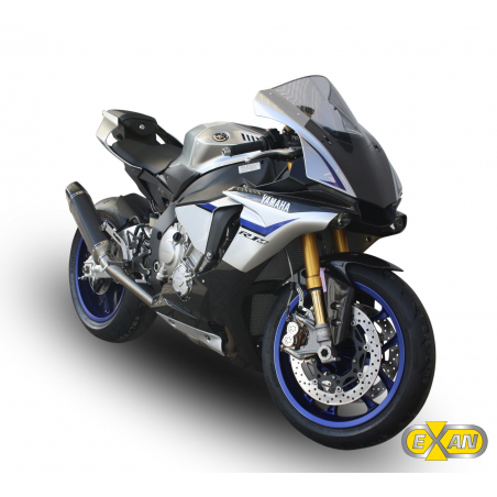 Half exhaust system with decatalyser and  silencer Exan X-Black Oval for Yamaha R1 non homologated - 5