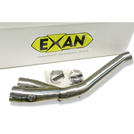 Half exhaust system with decatalyser and  silencer Exan X-Black Oval for Yamaha R1 non homologated - 7